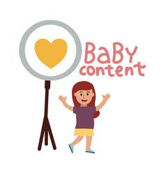baby blog standing little girl waves hands vector image