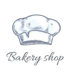 Baker hat sketch for bakery shop emblem vector image