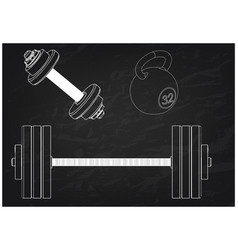 barbell and dumbbell on a black vector image