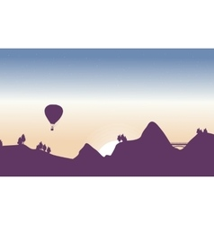 Beautiful landscape with air balloon and bridge vector image
