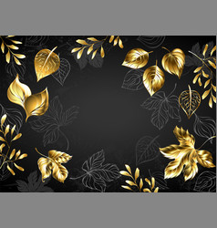black background with gold leaves vector image