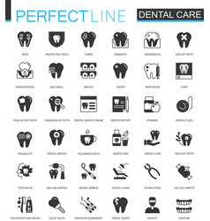 Black classic dental web icons set vector