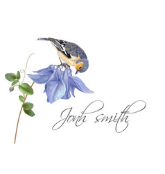 Blue flower bird name card vector