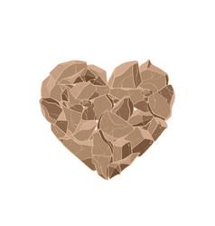 Brown stone heart vector