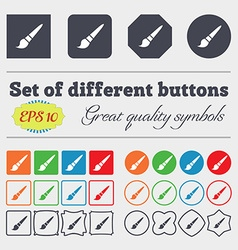 brush icon sign Big set of colorful diverse vector image