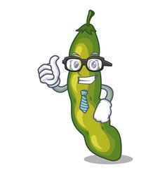 Businessman vegetables pod green bean in cartoon vector