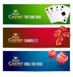 Casino banner gambling set Poker roulette Chips vector