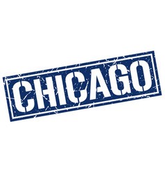 Chicago blue square stamp vector