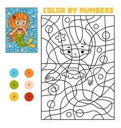 Color by number mermaid vector