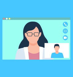 Consulting with doctor online video chat vector