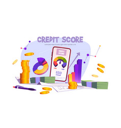credit score mobile application with rating scale vector image