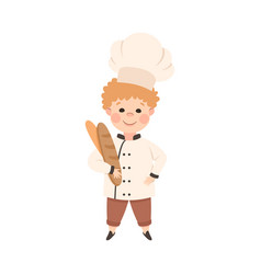 cute boy chef cook holding fresh baked loaf of vector image
