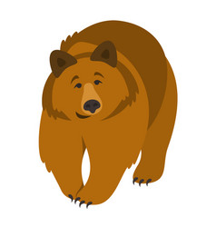 Cute smiling grizzly bear cartoon vector