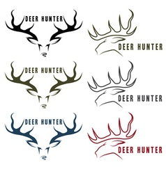 deer hunter vintage emblems set vector image