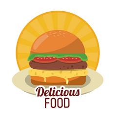 delicious food fresh burger fast unhealthy sticker vector image
