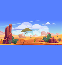 Desert landscape with rocks tree and cactuses vector