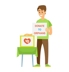 Donate to orphans share to children care vector