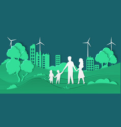 eco city and family paper cut smart city vector image