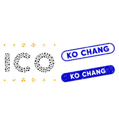 Elliptic mosaic ico caption with textured ko chang vector