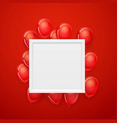 Empty white frame on a wall with flying red vector