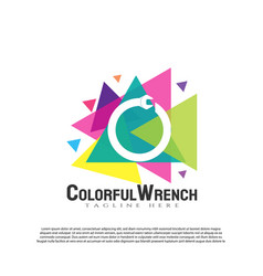 Engineering logo with colorful wrench concept vector