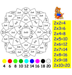 Exercise for children with multiplication two vector