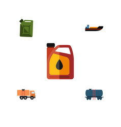 Flat icon petrol set of jerrycan boat fuel vector