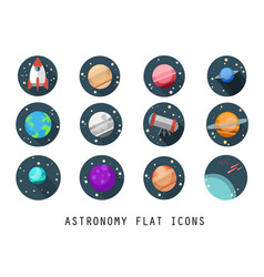 Flat icon set-astronomy vector