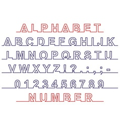 font and number on line vector image