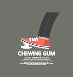 Foot Stuck Into Chewing Gum On Street vector