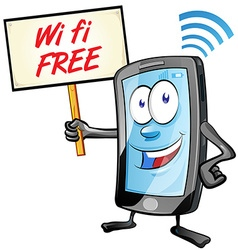 fun mobile cartoon with wi fi signboard vector image