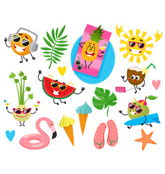 Funny fruit characters and summer holiday items vector