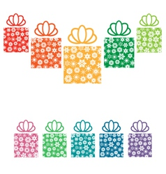 Gift boxes with snowflakes on white vector