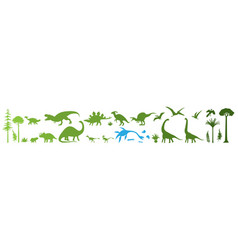 green dino silhouettes vector image