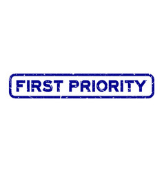 Grunge blue first priority word square rubber vector