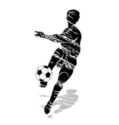 Grunge silhouette soccer player vector