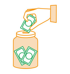Hand saver with glass jar and bills money vector