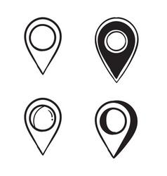 Handdrawn coordinates location point gps doodle vector