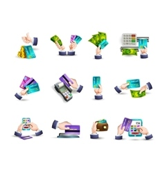 Hands credit card payment icons set vector image