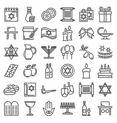 hanukkah icon set outline style vector image