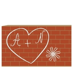 Heart with letters on the brick wall vector