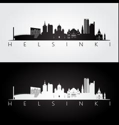 helsinki skyline and landmarks silhouette vector image