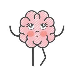 Icon adorable kawaii brain expression vector