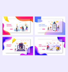 Learn today lead tomorrow landing page set vector
