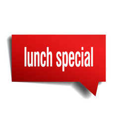 Lunch special red 3d speech bubble vector