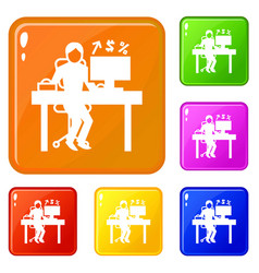 man office accounting icons set color vector image