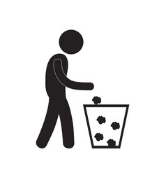 Man throwing trash icon vector