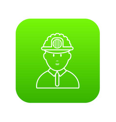 miner icon green vector image
