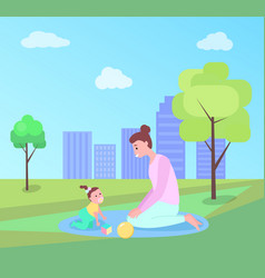 Mom and daughter outdoor playing in park vector