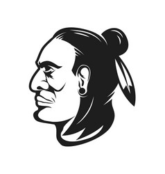 Native american chief head design elements vector